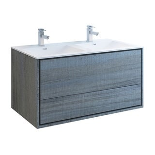 "Fresca Catania 48"" Ocean Gray Wall Hung Modern Bathroom Cabinet w/ Integrated Double Sink"