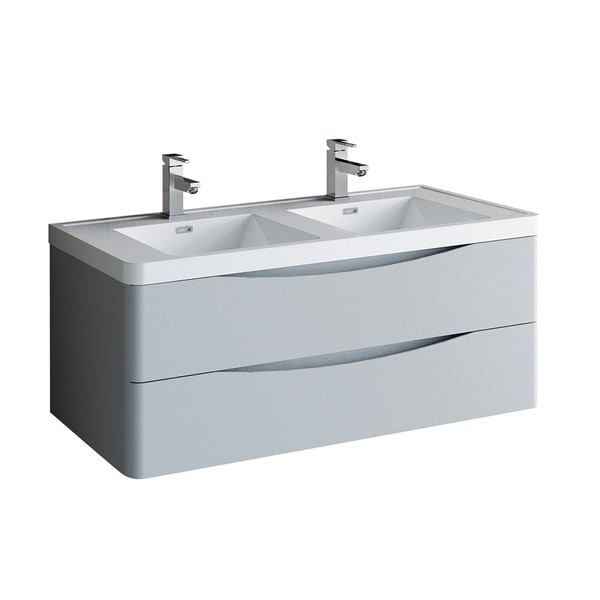 """Fresca Tuscany 48"""" Glossy Gray Wall Hung Modern Bathroom Cabinet w/ Integrated Double Sink"""