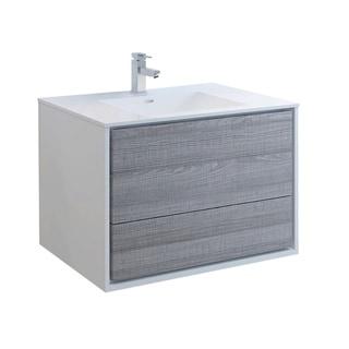 "Fresca Catania 36"" Glossy Ash Gray Wall Hung Modern Bathroom Cabinet w/ Integrated Sink"