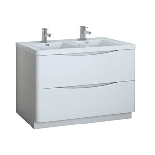 "Fresca Tuscany 48"" Glossy White Free Standing Modern Bathroom Cabinet w/ Integrated Double Sink"