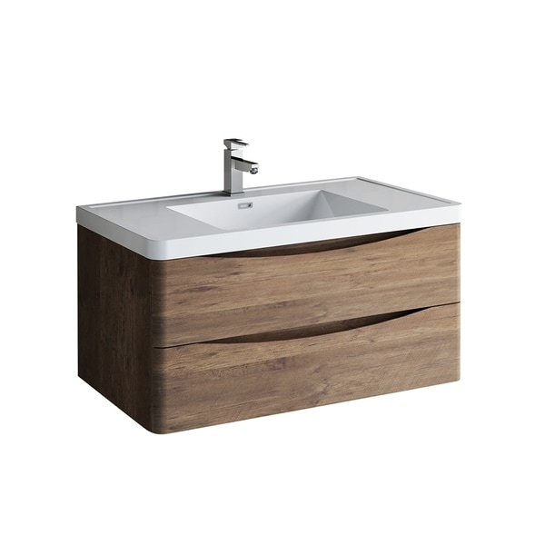 """Fresca Tuscany 40"""" Rosewood Wall Hung Modern Bathroom Cabinet w/ Integrated Sink"""