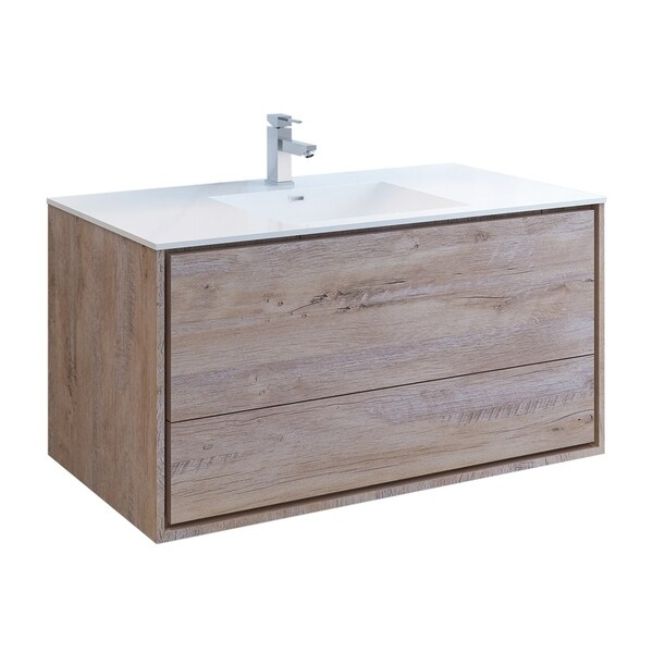 """Fresca Catania 48"""" Rustic Natural Wood Wall Hung Modern Bathroom Cabinet w/ Integrated Sink"""