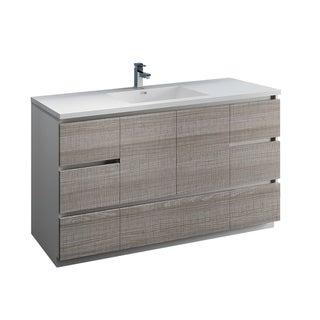 "Fresca Lazzaro 60"" Glossy Ash Gray Free Standing Modern Bathroom Cabinet w/ Integrated Single Sink"