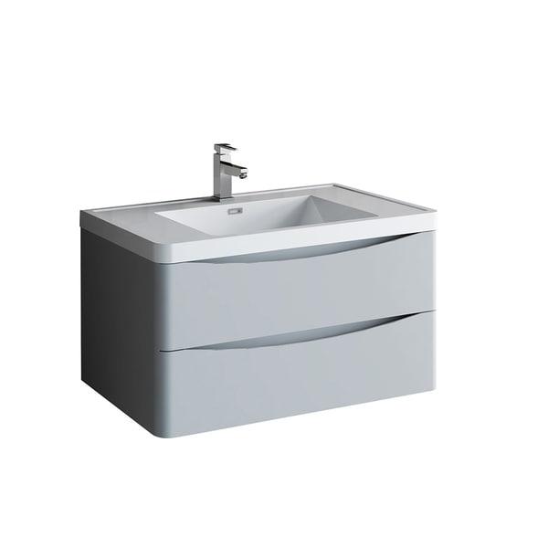 "Fresca Tuscany 36"" Glossy Gray Wall Hung Modern Bathroom Cabinet w/ Integrated Sink"