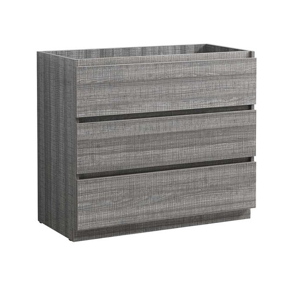 "Fresca Lazzaro 42"" Glossy Ash Gray Free Standing Modern Bathroom Cabinet"
