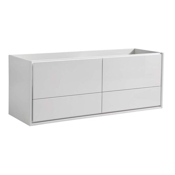 """Fresca Catania 60"""" Glossy White Wall Hung Double Sink Modern Bathroom Cabinet"""