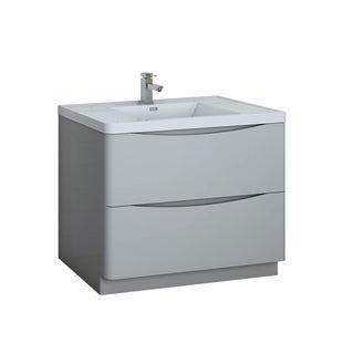 """Fresca Tuscany 40"""" Glossy Gray Free Standing Modern Bathroom Cabinet w/ Integrated Sink"""