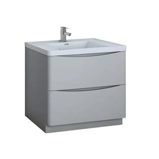 """Fresca Tuscany 36"""" Glossy Gray Free Standing Modern Bathroom Cabinet w/ Integrated Sink"""