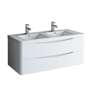 "Fresca Tuscany 48"" Glossy White Wall Hung Modern Bathroom Cabinet w/ Integrated Double Sink"