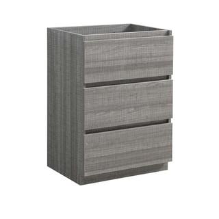 "Fresca Lazzaro 24"" Glossy Ash Gray Free Standing Modern Bathroom Cabinet"
