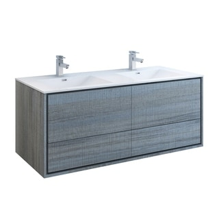 "Fresca Catania 60"" Ocean Gray Wall Hung Modern Bathroom Cabinet w/ Integrated Double Sink"
