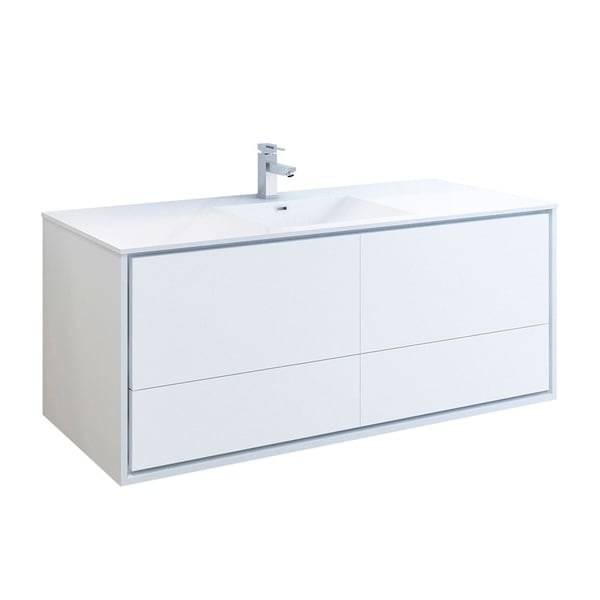 "Fresca Catania 60"" Glossy White Wall Hung Modern Bathroom Cabinet w/ Integrated Single Sink"