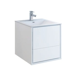 """Fresca Catania 24"""" Glossy White Wall Hung Modern Bathroom Cabinet w/ Integrated Sink"""