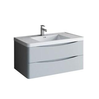 "Fresca Tuscany 40"" Glossy Gray Wall Hung Modern Bathroom Cabinet w/ Integrated Sink"