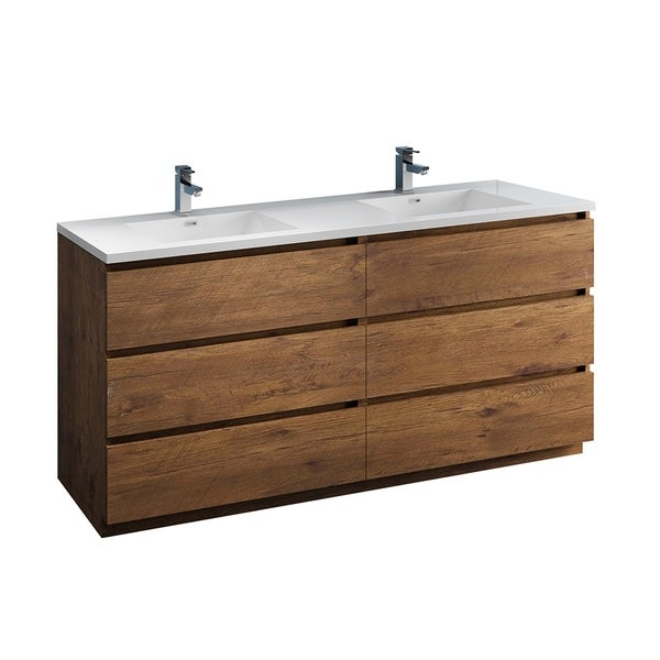 """Fresca Lazzaro 72"""" Rosewood Free Standing Modern Bathroom Cabinet w/ Integrated Double Sink"""