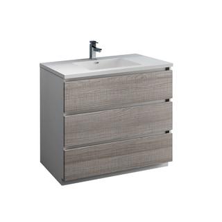 "Fresca Lazzaro 42"" Glossy Ash Gray Free Standing Modern Bathroom Cabinet w/ Integrated Sink"