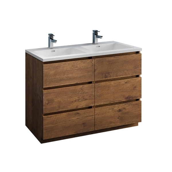 """Fresca Lazzaro 48"""" Rosewood Free Standing Modern Bathroom Cabinet w/ Integrated Double Sink"""
