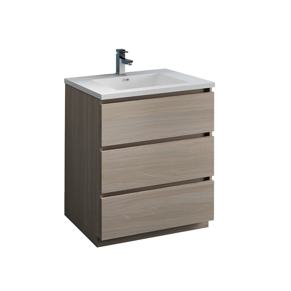 "Fresca Lazzaro 30"" Gray Wood Free Standing Modern Bathroom Cabinet w/ Integrated Sink"