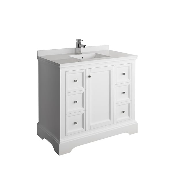 "Fresca Windsor 40"" Matte White Traditional Bathroom Cabinet w/ Top & Sink"