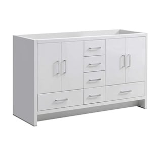 """Fresca Imperia 60"""" Glossy White Free Standing Double Sink Modern Bathroom Cabinet"""