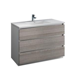 "Fresca Lazzaro 48"" Glossy Ash Gray Free Standing Modern Bathroom Cabinet w/ Integrated Sink"
