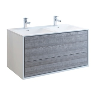 "Fresca Catania 48"" Glossy Ash Gray Wall Hung Modern Bathroom Cabinet w/ Integrated Double Sink"
