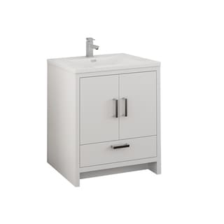 """Fresca Imperia 30"""" Glossy White Free Standing Modern Bathroom Cabinet w/ Integrated Sink"""