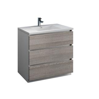 "Fresca Lazzaro 36"" Glossy Ash Gray Free Standing Modern Bathroom Cabinet w/ Integrated Sink"