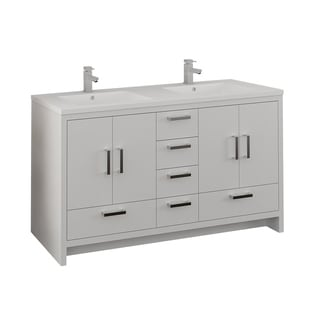 "Fresca Imperia 60"" Glossy White Free Standing Modern Bathroom Cabinet w/ Integrated Double Sink"