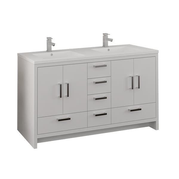 """Fresca Imperia 60"""" Glossy White Free Standing Modern Bathroom Cabinet w/ Integrated Double Sink"""