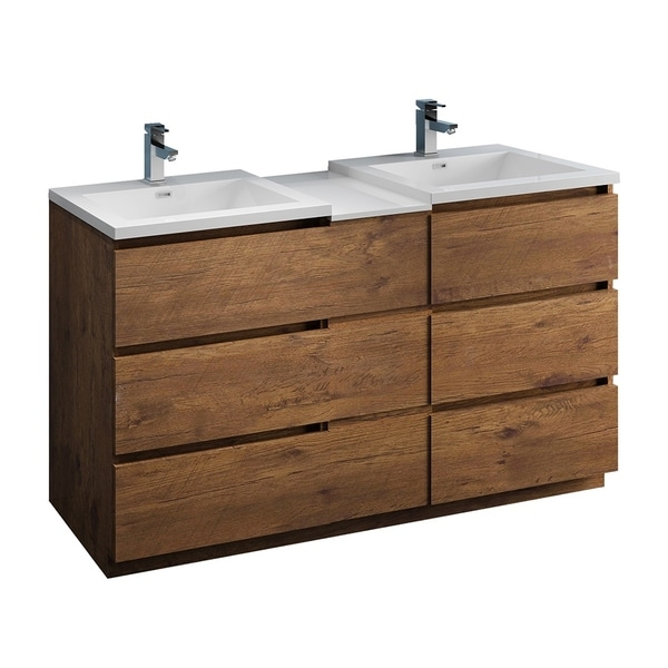 "Fresca Lazzaro 60"" Rosewood Free Standing Double Sink Modern Bathroom Cabinet w/ Integrated Sinks"