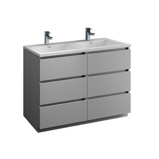 """Fresca Lazzaro 48"""" Gray Free Standing Modern Bathroom Cabinet w/ Integrated Double Sink"""
