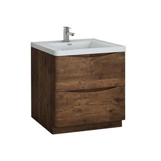 "Fresca Tuscany 32"" Rosewood Free Standing Modern Bathroom Cabinet w/ Integrated Sink"