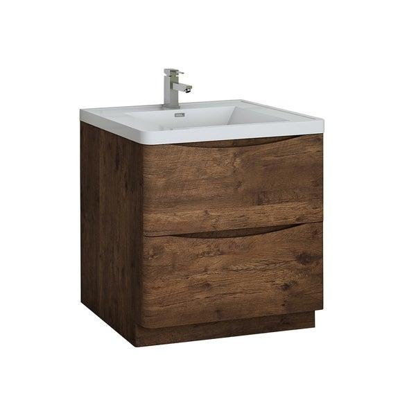 """Fresca Tuscany 32"""" Rosewood Free Standing Modern Bathroom Cabinet w/ Integrated Sink"""