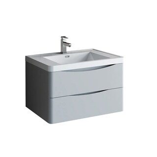 "Fresca Tuscany 32"" Glossy Gray Wall Hung Modern Bathroom Cabinet w/ Integrated Sink"