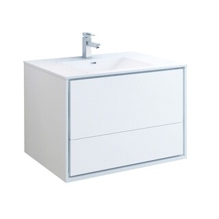 "Fresca Catania 36"" Glossy White Wall Hung Modern Bathroom Cabinet w/ Integrated Sink"