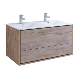 """Fresca Catania 48"""" Rustic Natural Wood Wall Modern Bathroom Cabinet w/ Integrated Double Sink"""