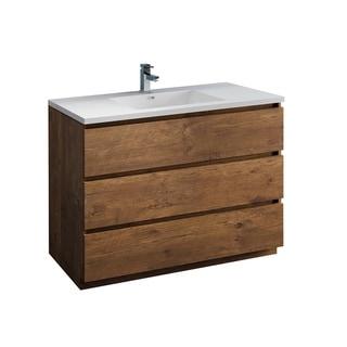"Fresca Lazzaro 48"" Rosewood Free Standing Modern Bathroom Cabinet w/ Integrated Sink"