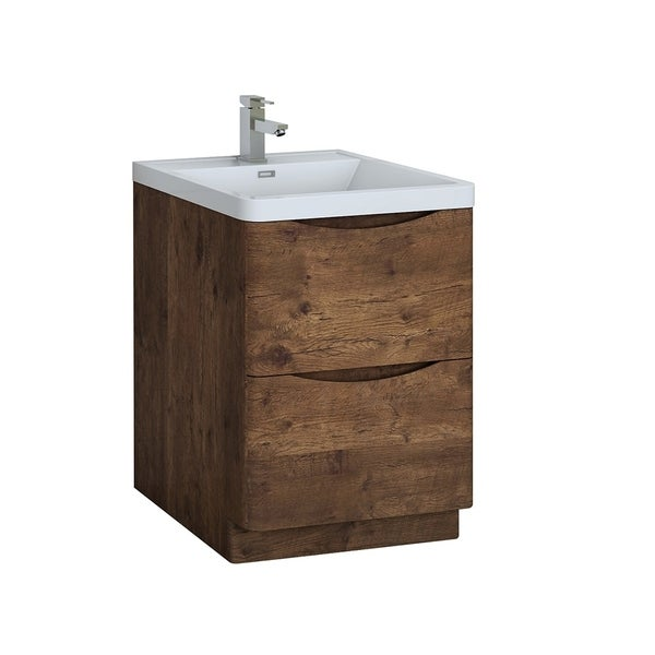 "Fresca Tuscany 24"" Rosewood Free Standing Modern Bathroom Cabinet w/ Integrated Sink"