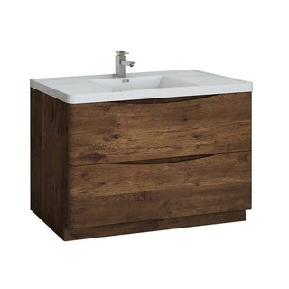 "Fresca Tuscany 48"" Rosewood Free Standing Modern Bathroom Cabinet w/ Integrated Sink"