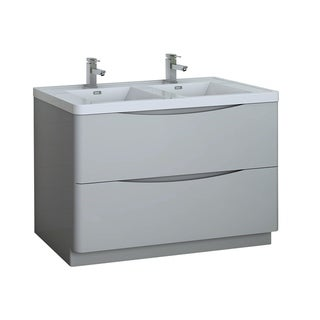 "Fresca Tuscany 48"" Glossy Gray Free Standing Modern Bathroom Cabinet w/ Integrated Double Sink"