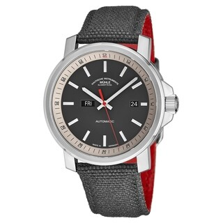 Muhle Glashutte Men's M1-25-34-NB '29er Tag Datum' Grey Dial Grey Leather Strap Day Date Automatic Watch