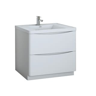 "Fresca Tuscany 36"" Glossy White Free Standing Modern Bathroom Cabinet w/ Integrated Sink"