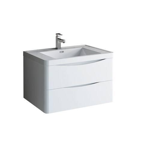 "Fresca Tuscany 32"" Glossy White Wall Hung Modern Bathroom Cabinet w/ Integrated Sink"