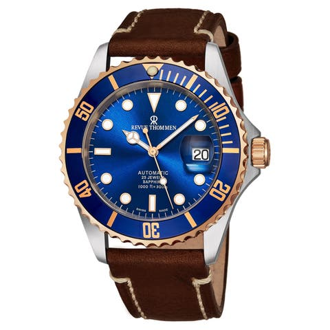 Revue Thommen 17571.2555 'Diver' Blue Dial Brown Leather Strap Date Automatic Watch