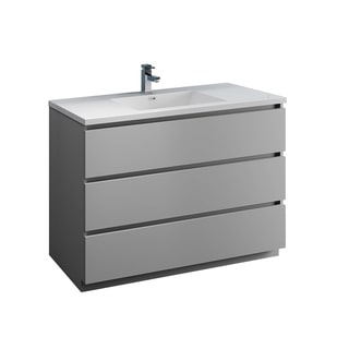 "Fresca Lazzaro 48"" Gray Free Standing Modern Bathroom Cabinet w/ Integrated Sink"