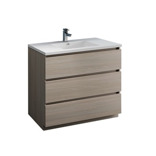 "Fresca Lazzaro 42"" Gray Wood Free Standing Modern Bathroom Cabinet w/ Integrated Sink"