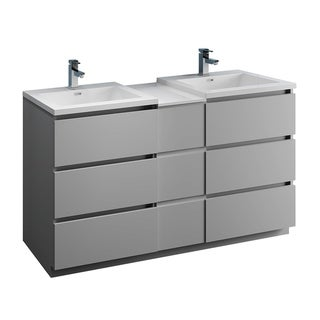 "Fresca Lazzaro 60"" Gray Free Standing Double Sink Modern Bathroom Cabinet w/ Integrated Sinks"