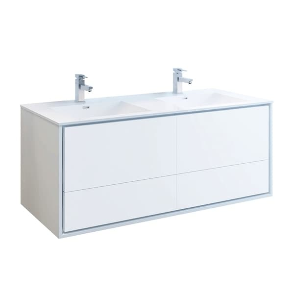 "Fresca Catania 60"" Glossy White Wall Hung Modern Bathroom Cabinet w/ Integrated Double Sink"