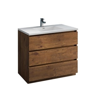 "Fresca Lazzaro 42"" Rosewood Free Standing Modern Bathroom Cabinet w/ Integrated Sink"